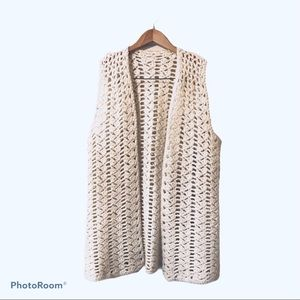 White chunky knit duster vest Vintage